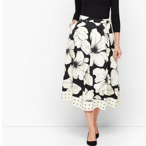 Talbots Primrose Dot Pleated Midi Skirt